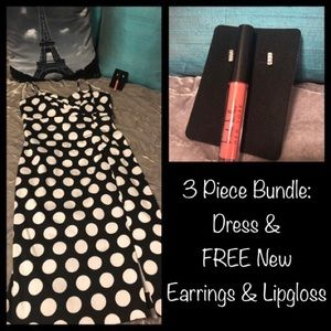 Donna Ricco Dress & FREE New Earrings & Lipgloss